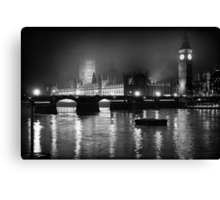 Westminster Palace, A Foggy Winter Night, London, UK Canvas Print