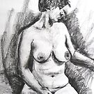 Regena Seated- life study in charcoal by Mick Kupresanin