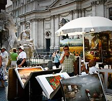 Art Sellers in Piazza Navona, Rome, Italy by dendritic
