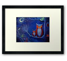 The Forest At Night - Owl Art  Framed Print