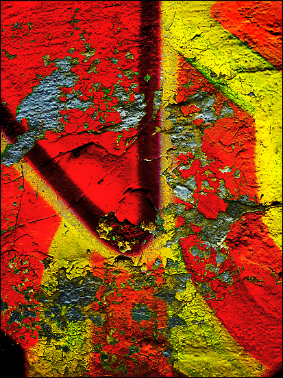 Graffiti Wall Abstract Art -Yellow -Red by Albert Sulzer