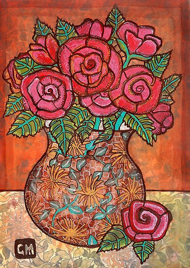 Roses in a funny old vase for Alice by genevievem