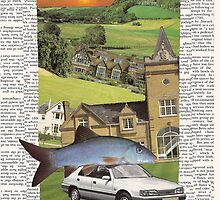 house, fish, car (sunset) card by Soxy Fleming