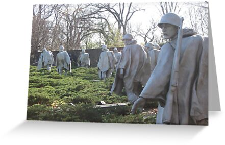 The Nineteenth Parallel- Statues at the Korean War Memorial by Elspeth  McClanahan