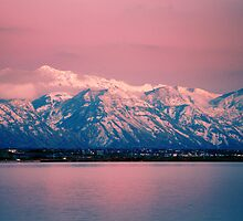 Pink Sunset Utah Lake by Ryan Houston