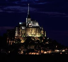 A night view of the Mont-Saint-Michel, France by Sébastien FERRAND