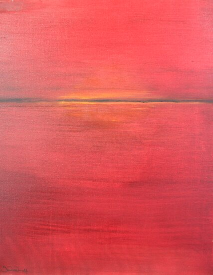 Red Sunset - Abstract by John Woodruff