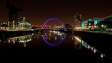 Clyde arc bridge at night by Grant Glendinning