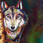 Wolf Behind Tree by Gayle Utter