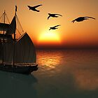 sailing at sunset by Cheryl Dunning