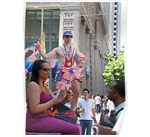 A gay man with American flags Poster