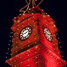 Red Christmas lights on Prahran Town Hall by RyePixels