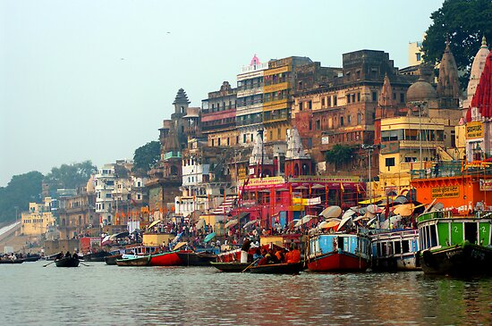 Dawn on the Ganges Ghats Varanasi, India by jacqi