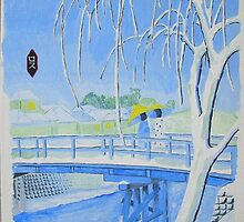 Blue Japanese landscape in Winter 11x14 acrylic on canvas by boocifer
