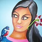 Triptych 2-Center woman with Flowers and Birds (2009) by Deva Saal