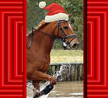 SANTA HORSE RACING CHRISTMAS CARD - MERRY CHRISTMAS by Cheryl Hall