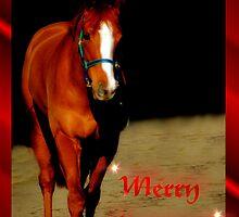 BEAUTIFUL HORSE - MERRY CHRISTMAS CARD by Cheryl Hall