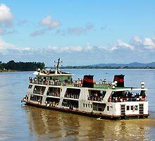 Burmese ferry, Irrawaddy River. by John Mitchell