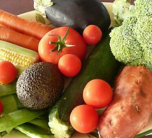Assorted Vegetables on a Plate. by Mywildscapepics