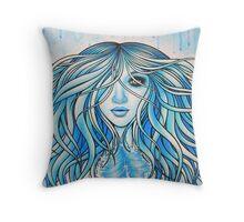 Blue Mermaid Throw Pillow