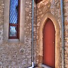 Church Door and Window by Elaine Teague