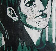 Self Portrait Woodcut by Xtianna
