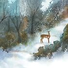 Deer on the Path by Joan A Hamilton