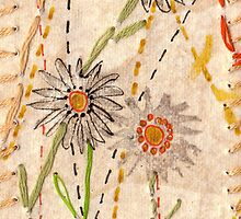 Paper Daises on gold paper with cotton stitching by Adriel Knowling