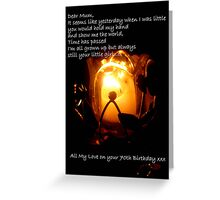 CandleGlow - Mother 70th Birthday Card Greeting Card