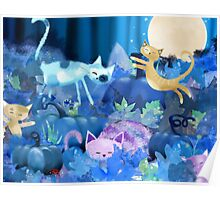 Moonlit - cats and kittens at play. Poster
