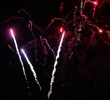 Sky Rockets-fireworks at Geelong Vic Au by Rhonda F.  Taylor