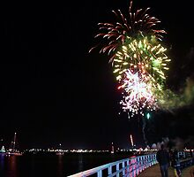 Fireworks over the Bay-Geelong Vic Australia by Rhonda F.  Taylor