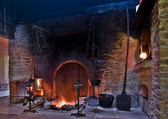 rustic fireplace in old farmhouse by Mario Curcio