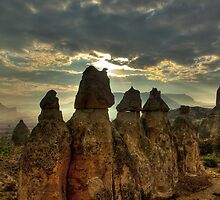 The fairy Chimneys in Cappadocia from a balloon by Pierre Vandewalle