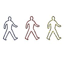 Glowing Outlines Of People Walking In Primary Colours by williamtribe