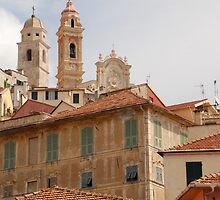 Houses and Church in Cervo  by jojobob