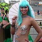 Silver mermaid at Coney Island by andytechie