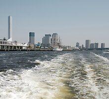 Boat Wake in Tokyo Waterway  by jojobob