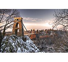 Clifton Suspension Bridge Snow Photographic Print