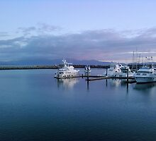 Marina Sunset with fishing boats in Blue by deedeeoriginals