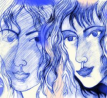 A Drawing of Imaginary Women #2 – In Electric Blue With Touches of Peach by Ivana Redwine