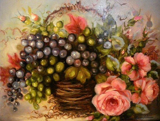 Grapes and Roses by Cathy Amendola