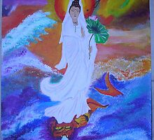 Kwan Yin and Dragon 11x14 acrylic on canvas by boocifer