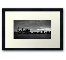 city skyline in black and white Framed Print
