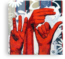 Sign09WHY - Hands using American Sign Language for the word WHY Canvas Print