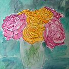 Pink & Yellow Roses by Alexandra Felgate