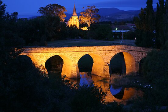 Richmond Bridge and Chruch, Tasmania, Australia by Michael Boniwell