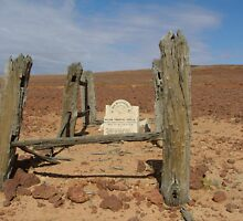 Lonely desert grave, Innamincka. SA. by Liz Worth