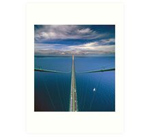 A View from the South Tower of the Mackinac Bridge Art Print