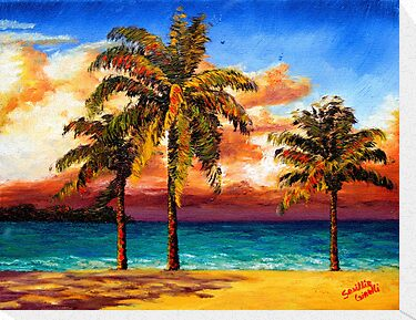 Jamaican Beach Palm Trees by sesillie
